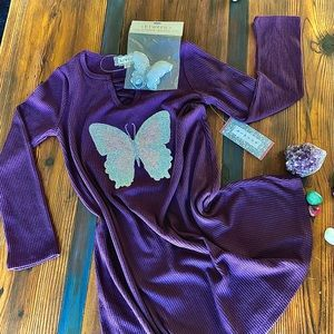 2 Piece Shimmering Butterfly Dress & Charm